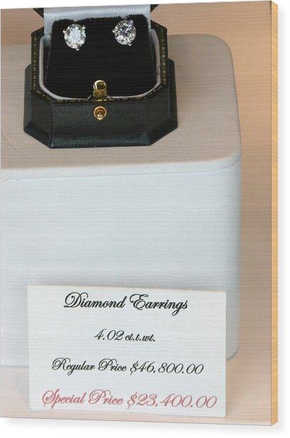 Diamond Earrings On Sale Wood Print