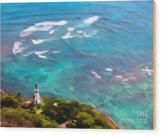 Diamond Head Lighthouse View Wood Print