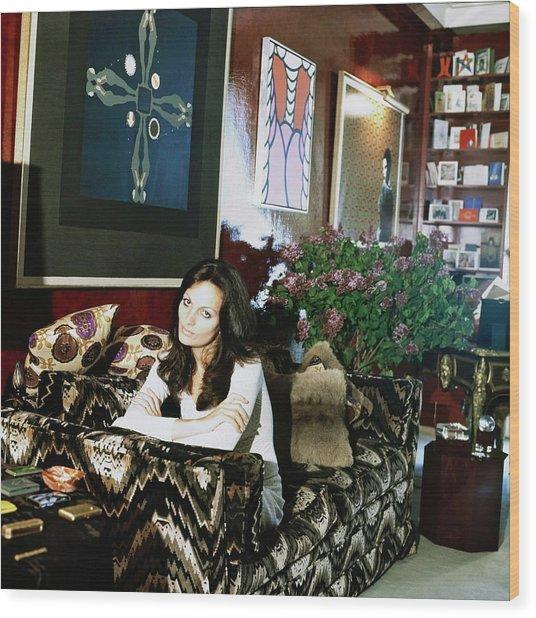 Diane Von Furstenberg At Home Wood Print by Horst P. Horst