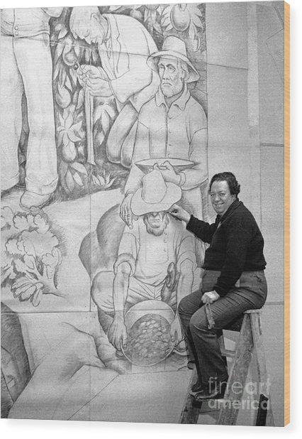 Diego Rivera Muralist 1930 Wood Print