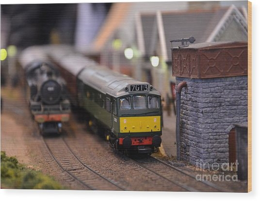Diesel Electric Model Train Railway Engine Wood Print