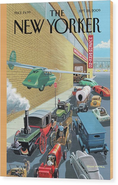 Different Types Of Cars From The Past Waiting Wood Print by Bruce McCall