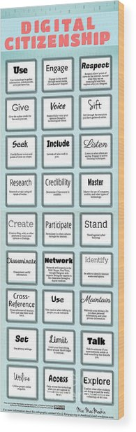 Digital Citizenship Wood Print