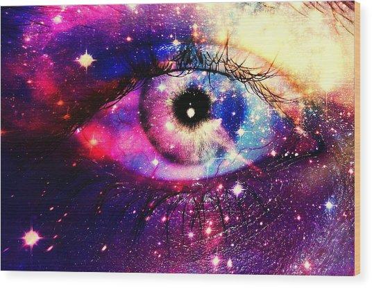 Digital Composite Image Of Human Eye Wood Print by Brielle Mcconnell / Eyeem