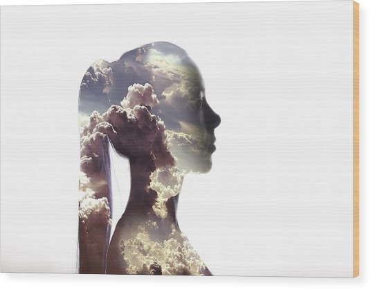 Digital Composite Of Woman And Cloudy Wood Print by Roman Nasedkin / Eyeem