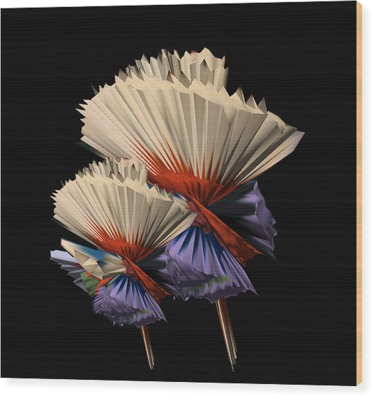 Digital Flower Dance Wood Print by Colleen Cannon