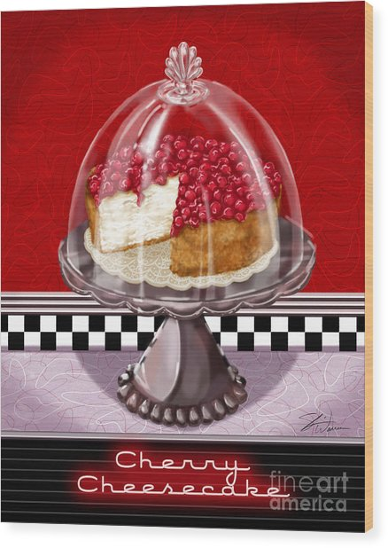 Diner Desserts - Cherry Cheesecake Wood Print