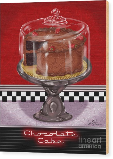 Diner Desserts - Chocolate Cake Wood Print