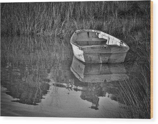 Dinghy In The Marsh Wood Print