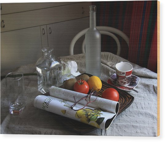 Dining Room Still Life With A Cup Of Coffee. Wood Print