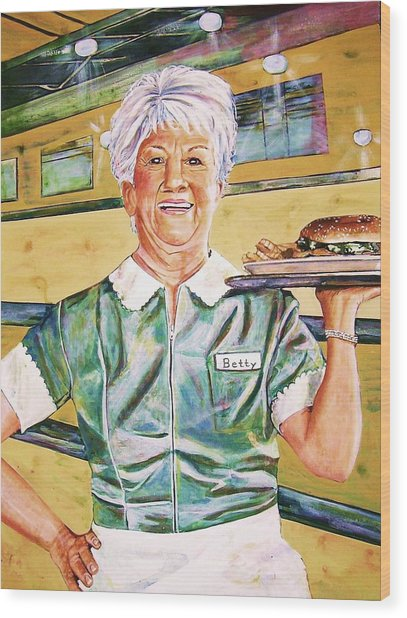 Dinner Betty Wood Print by Linda Vaughon