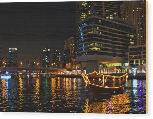 Dinner Cruise Dubai Wood Print