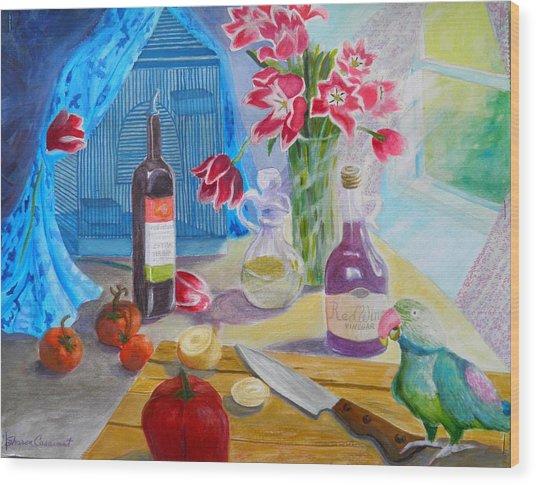 Dinner-time With Louigi Wood Print