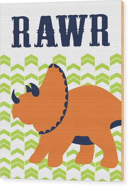 Dino Rawr Wood Print