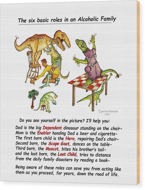 Dinosaur Family Detail Wood Print