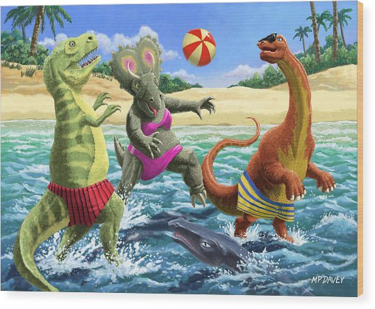 dinosaur fun playing Volleyball on a beach vacation Wood Print
