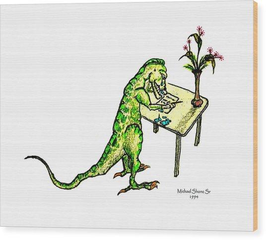 Dinosaur Get Well Sorry Miss You Condolences Sympathy Blank Wood Print