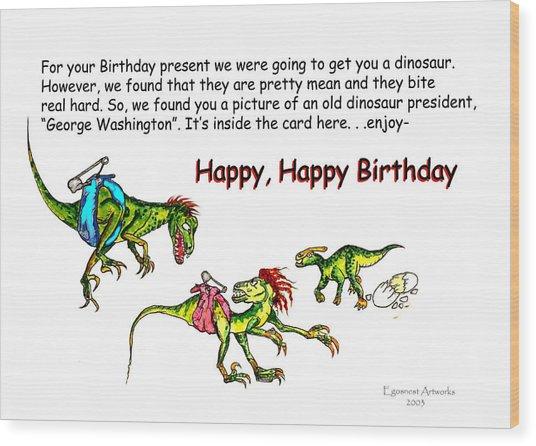 Dinosaur Kids Birthday Wood Print