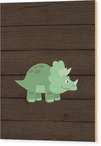 Dinosaur Wood II Wood Print