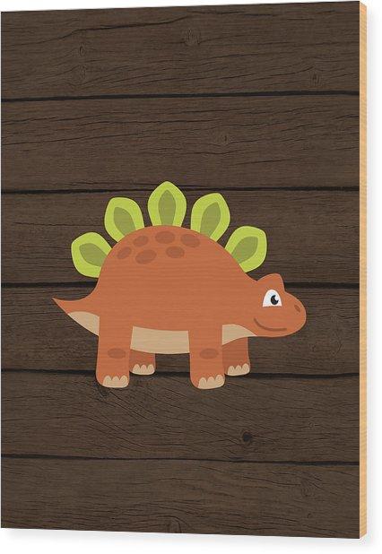 Dinosaur Wood IIi Wood Print
