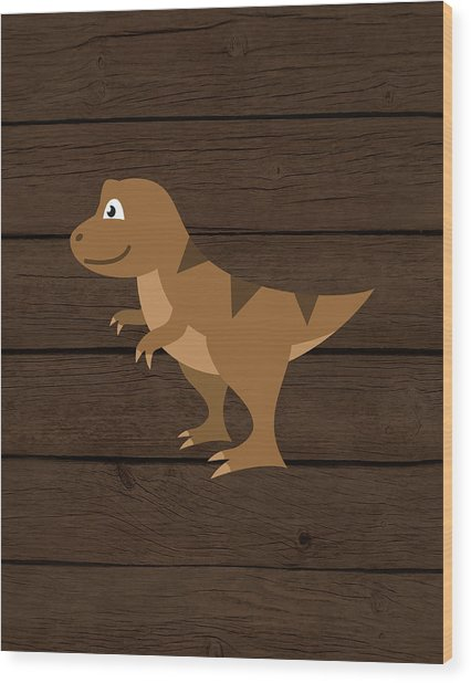Dinosaur Wood Iv Wood Print