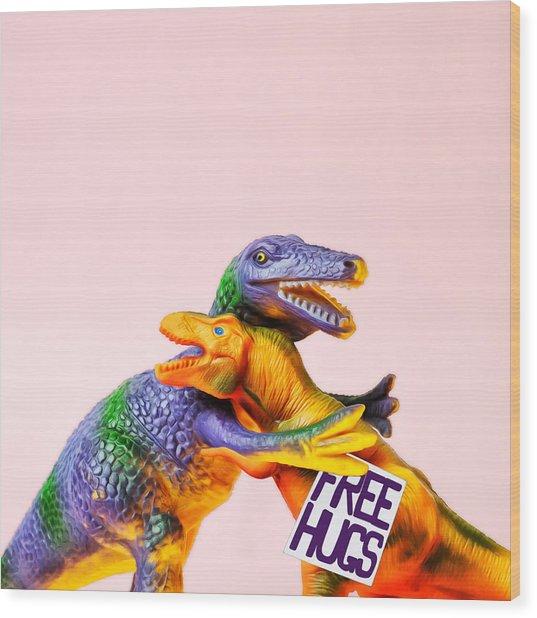 Dinosaurs Hugging Wood Print