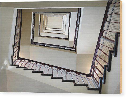 Directly Below Shot Of Spiral Staircase Wood Print by Joerg Fockenberg / Eyeem