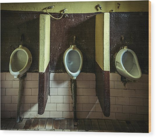 Dirty Urinals Wood Print