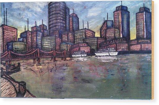 Dirty Water Wood Print by Michael Schimank
