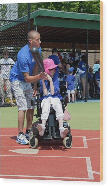 Disabled Girl Playing Baseball Wood Print