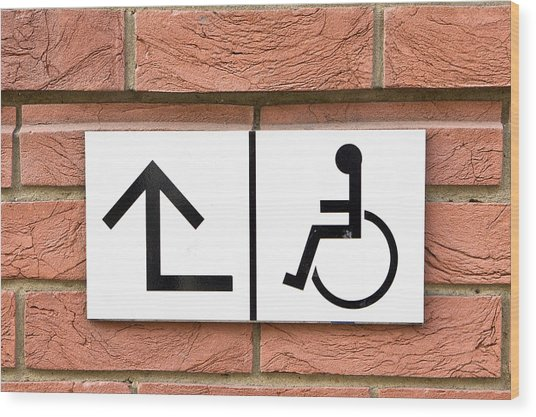 Disabled Sign Wood Print