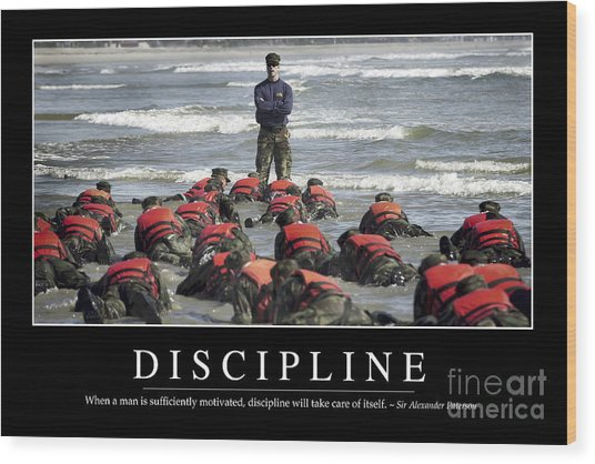 Discipline Inspirational Quote Wood Print