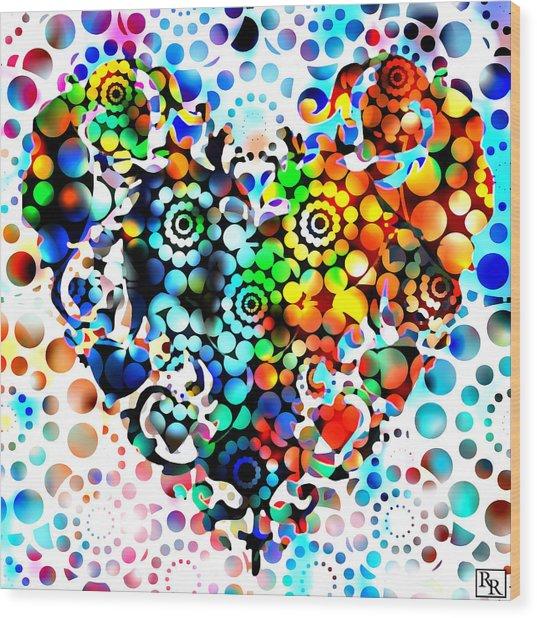 Disco Heart Wood Print