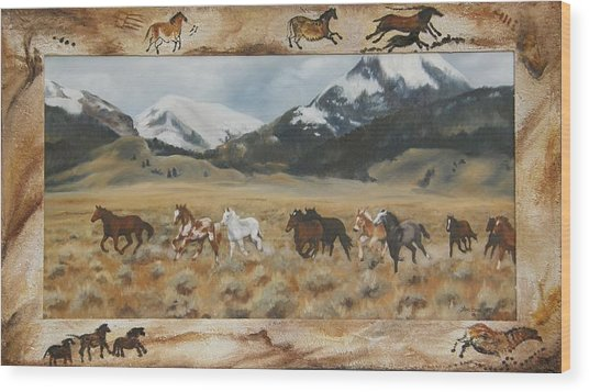 Discovery Horses Framed Wood Print