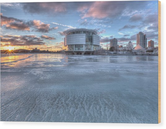 Discovery World On Ice Wood Print