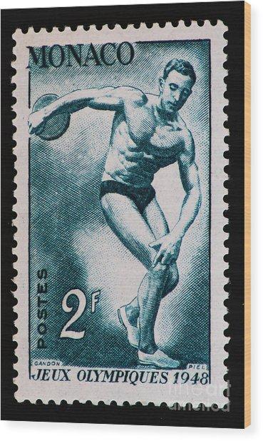 Discus Vintage Postage Stamp Print Wood Print