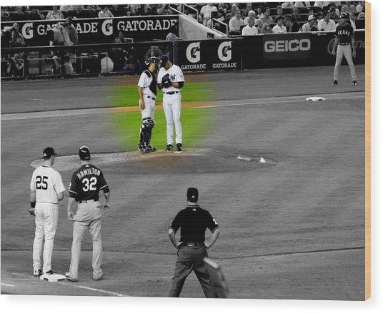Discussing Strategy Pettitte And Posada Highlighted Wood Print