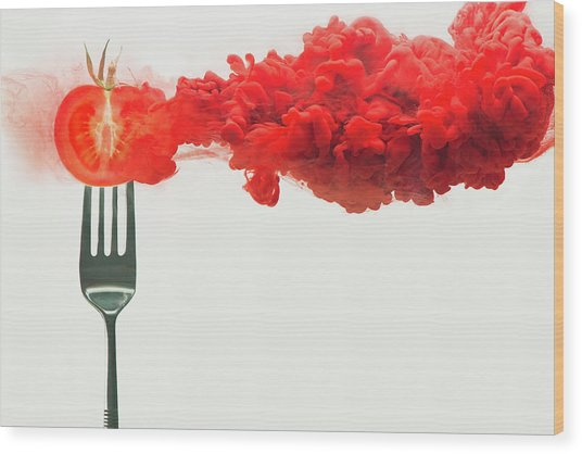 Disintegrated Tomato Wood Print by Dina Belenko Photography