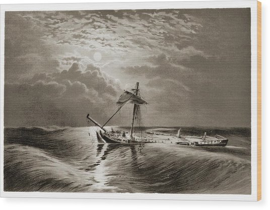 Dismasted Ship After A Storm. Wood Print