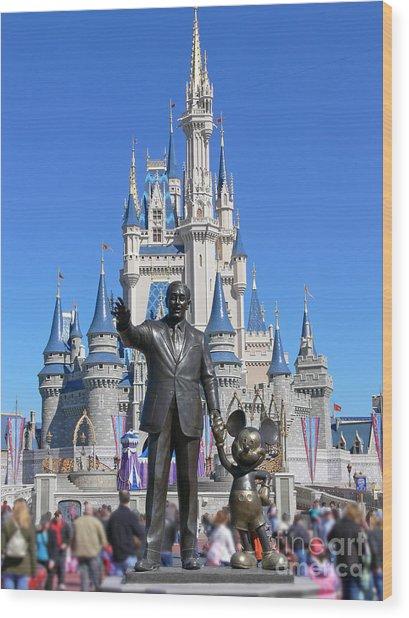 Disney And Mickey Wood Print