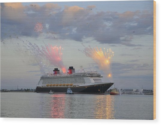 Disney Fantasy And Fireworks Wood Print