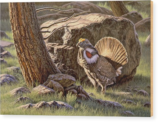 Displaying--blue Grouse Wood Print