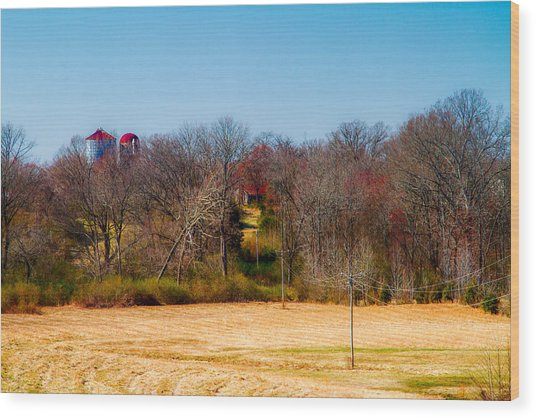 Distant Barns - Rural Art Wood Print by Barry Jones