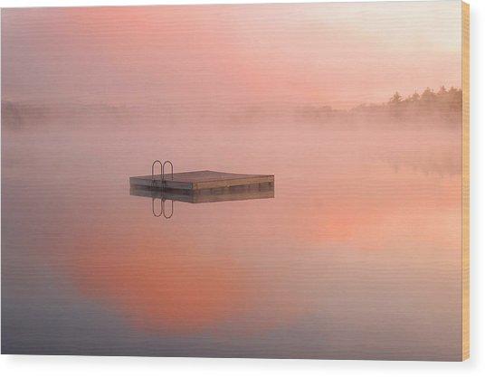 Distant Dock At Sunrise Wood Print