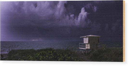 Distant Lightning Wood Print