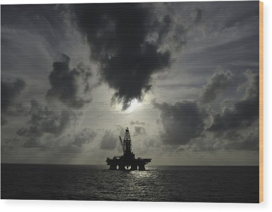 Distant Offshore Oil Rig Wood Print