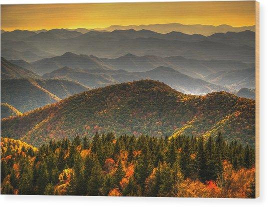 Distant Ridges Wood Print