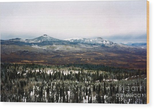Distant Rockies Wood Print