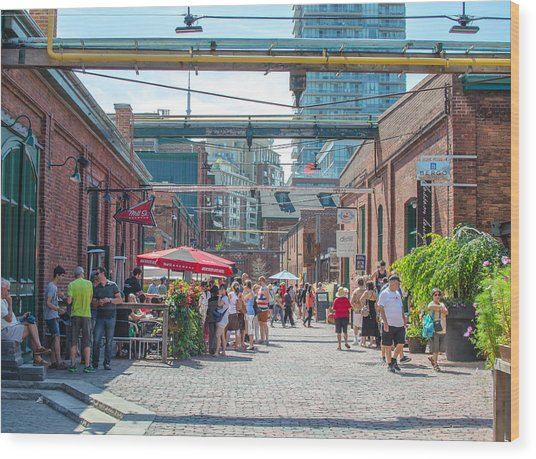 Distillery District Wood Print by Eric Dewar