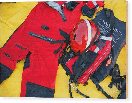 Diver Emergency Rescue Kit Wood Print
